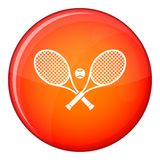 Crossed tennis rackets and ball icon, flat style Stock Photo