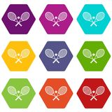 Crossed tennis rackets and ball icon set color hexahedron Stock Images