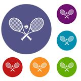 Crossed tennis rackets and ball icons set Royalty Free Stock Photo