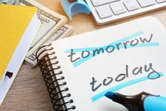 Crossed tomorrow and underlined today. Royalty Free Stock Photography
