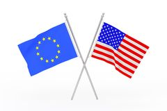 Crossed USA and European Union Flags. 3d Rendering. Crossed USA and European Union Flags on a white background. 3d Rendering Stock Photos