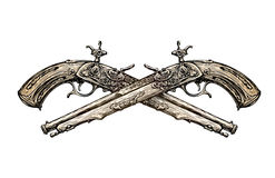 Crossed vintage Pistols. Hand drawn sketch ancient weapon. Duel. Vector illustration Stock Image