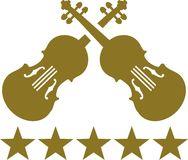 Crossed violins with five golden stars. Vector icon Royalty Free Stock Image