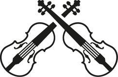 Crossed violins music. Crossed violins instrument music vector Stock Photo