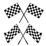 Crossed black and white checkered flags logo conceptual of motor sport, isolated on white. Crossed waving black and white checkered flags logo conceptual of Royalty Free Stock Images