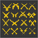 Crossed Weapons Vector Collection in dark Stock Photos