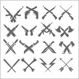 Crossed Weapons Vector Collection in white Stock Image