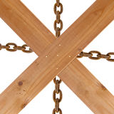 Crossed wooden planks and rusty chain Stock Images