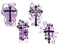 Set of isolated Crosses decorated. Illustration representing some examples of decorated crosses Stock Photo