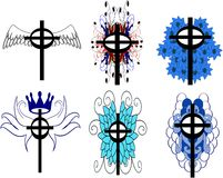Set of isolated Crosses decorated. Illustration representing some examples of decorated crosses Stock Images