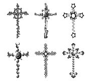 Set of isolated Crosses decorated Stock Photography