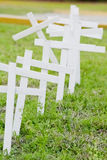 Crosses. Lined up on the side of the road Stock Photography