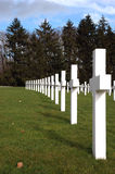 Crosses. White marble crosses in an american army graveyard Stock Photo