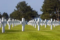 Crosses. Rows of crosses at the Normandy American Cemetery, France Stock Photography