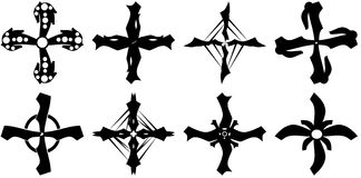 set of isolated Crosses tattoo in black Royalty Free Stock Photo