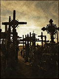 Crosses. Hill of Crosses (Lithuania) in vintage style royalty free stock photos