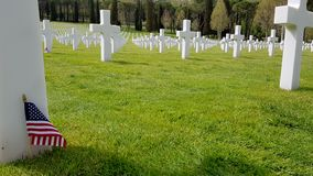 The crosses of American soldiers who died during the Second World War buried in the Florence American Cemetery and Memorial, Flore. Nce, Tuscany, Italy stock photos