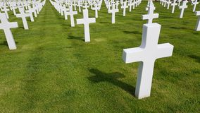 The crosses of American soldiers who died during the Second World War buried in the Florence American Cemetery and Memorial, Flore. Nce, Tuscany, Italy royalty free stock image