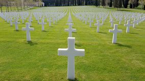 The crosses of American soldiers who died during the Second World War buried in the Florence American Cemetery and Memorial, Flore. Nce, Tuscany, Italy royalty free stock images