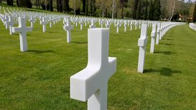 The crosses of American soldiers who died during the Second World War buried in the Florence American Cemetery and Memorial, Flore. Nce, Tuscany, Italy stock photography