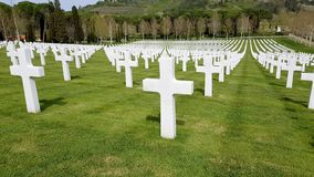 The crosses of American soldiers who died during the Second World War buried in the Florence American Cemetery and Memorial, Flore royalty free stock photo