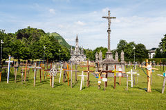 Crosses and the  basilica in the distance Stock Image