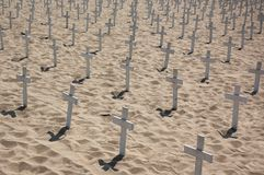 Crosses on the beach Royalty Free Stock Images