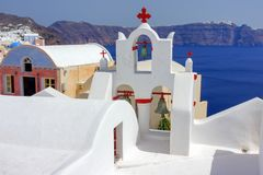 The crosses of Greek churches royalty free stock image