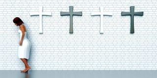 Crosses on brick wall Stock Image