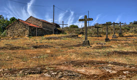 Crosses calvary in a rural village royalty free stock photo