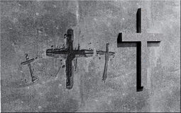 Crosses carved in the wall Royalty Free Stock Images
