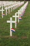 Crosses on cemetery. Crosses with Croatian flag in Vukovar stock image