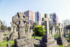 Crosses in a cemetery on the outskirts of London Royalty Free Stock Images