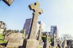 Crosses in a cemetery on the outskirts of London Stock Photos