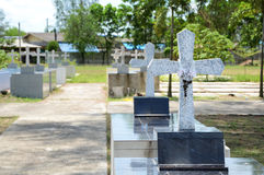 Crosses at chantaburi cemetery Stock Image