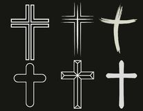 Crosses of christian religion. Set of isolated orthodoxy and catholicism divine symbols in shape of cross, Jesus Christ and God,. Faith sign royalty free illustration