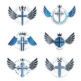 Crosses of Christianity emblems set. Heraldic vector design elem. Ents collection. Retro style label, heraldry logo Stock Image