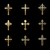 Crosses of Christianity emblems set. Heraldic vector design elem Royalty Free Stock Photo