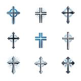 Crosses of Christianity emblems set. Heraldic vector design elem Royalty Free Stock Image