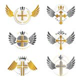 Crosses of Christianity emblems set. Heraldic vector design elem Stock Images
