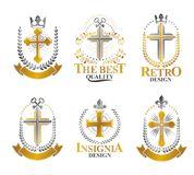 Crosses of Christianity emblems set. Heraldic vector design elem Royalty Free Stock Photos