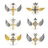 Crosses of Christianity emblems set. Heraldic vector design elem. Ents collection. Retro style label, heraldry logo Stock Photography