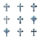 Crosses of Christianity emblems set. Heraldic vector design elem. Ents collection. Retro style label, heraldry logo Royalty Free Stock Photos