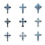 Crosses of Christianity emblems set. Heraldic vector design elem. Ents collection. Retro style label, heraldry logo Royalty Free Stock Photo