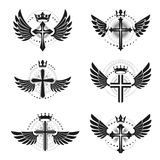 Crosses of Christianity emblems set. Heraldic vector design elem. Ents collection. Retro style label, heraldry logo Royalty Free Stock Images