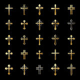 Crosses of Christianity Religion emblems set. Heraldic Coat of A Stock Photos