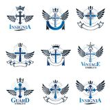 Crosses of Christianity Religion emblems set. Heraldic Coat of A. Rms decorative logos isolated vector illustrations collection Royalty Free Stock Photography
