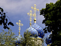 Crosses of church of an icon of the Kazan Mother of God in Kolomenskoe. City of Moscow. The church of an icon of the Kazan Mother of God is located in the south Stock Images