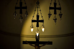 Crosses and crucifix in church Royalty Free Stock Images