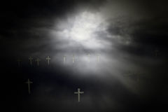 Crosses in the dark Stock Photo